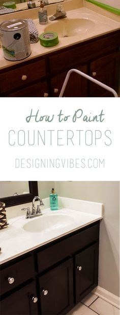 How to Paint Cultured Marble Countertops - DIY Tutorial painting bathroom countertops Painting Bathroom Countertops, Countertop Makeover, Vanity Countertop, Diy Countertops, Bathroom Marble, Painting Bathroom Sinks, Diy Marble, Countertop Paint, Marble Wood