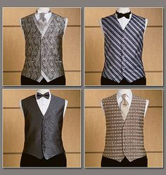 Men's Vest, Tie and Bow Tie. Again Great styles. V8048 can be used for Steampunk fabrics. and embellishments.