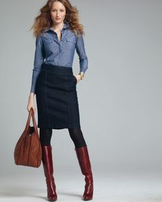 I would love a good denim pencil skirt (I'm not crazy about the rest of this, though).