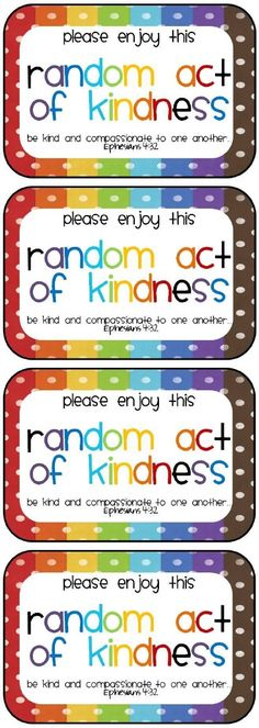 Random Act of Kindness cards Blessing Bags, Service Projects, Service Ideas, Kindness Matters, Thinking Day, Kids Church, Activity Days, Bible Lessons, Good Deeds