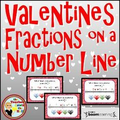 Freebie fractions on a number line task cards super bowl themed boom cards valentines fractions on a number line fandeluxe Gallery