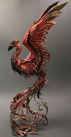 """The rising Phoenix is the emblem of the notorious House of Lazarus. Their motto is """"Destroy or be Destroyed. Animal Sculptures, Sculpture Art, Clay Sculptures, Tatoo Nature, Phenix Tattoo, Blog Art, Phoenix Art, Phoenix Painting, Mythical Creatures"""