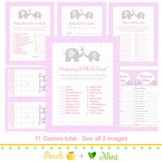SALE. Pink Girl Elephant Baby Shower Games  7.50 print our own on cardstock