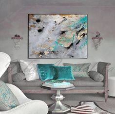 #Abstract #Watercolor #Rectangle #Print #Large #WallArt #Gray #Gold #Black #Teal #Gold #Canvas #PaintingPrint, #GoldLeaf #Painting, #Turquoise, #BlackandGold  #ExtraLarge #WallArt by #JuliaApostolova on #Etsy #artcollectors#interiordesigners #abstractart#livingroomdecor #walldecor#goldleaf  #decor #interior #abstractcanvasart#contemporaryartist