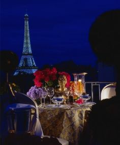 Dinner view from the Hotel George V. I can't even imagine how amazing this would be.