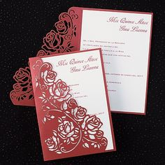 A red shimmer wrap with a laser-cut rose pattern encloses your invitation. #quinceanera www.poshweddinginvitations.com
