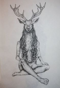 The Deer Woman A3 with pen by Misia's Art. More @ http://misiasart.deviantart.com/gallery and @ https://www.instagram.com/misiasart #misiasart #deer #tattoo #art #forsale #honr #skull #skeleton #bone #lineart #linework #dotart #dotwork #body #magic #witch #dark #design #illustration #ink #pen #pencil #occult #vampire #horror #creature #monster