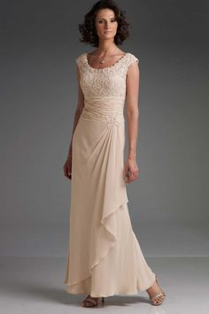 2013 Collection Floor Length Scoop Neckline Sheath/Column Chiffon And Lace