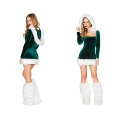c3362b0da8 Sexy Santa s Helper Green Velvet Christmas Costume Minidress ( 50) ❤ liked  on Polyvore featuring