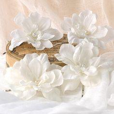 Vanilla White Wedding Hair Flowers Bridal Bobby by VelvetTeacup