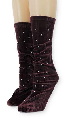 Ribbed Navy Velvet Socks with Beads Velvet Socks, Crew Socks, Comfy, Navy, Beads, Unique, Spandex, Modern, Products