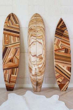 Mulholland Surfboard by Kelly Wearstler | handcrafted puzzle design features a spectrum of rich woods. A soulful and spirited homage to iconic west coast style. Need to do this