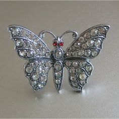 Rhinestone Butterfly Pin, Vintage, Made in Czechoslovakia, Marked... (€30) ❤ liked on Polyvore featuring jewelry, brooches, rhinestone jewelry, vintage jewellery, monarch butterfly jewelry, rhinestone broach and vintage brooches