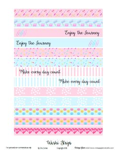 Pastel Washi Tape Strips | Free printable