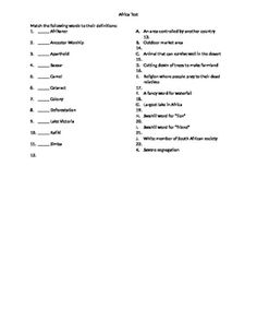 the princess bride vocab quiz 40 questions based on the continent and basic history of africa for middle school social studies