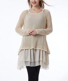 Another great find on #zulily! Beige Crochet Tunic #zulilyfinds