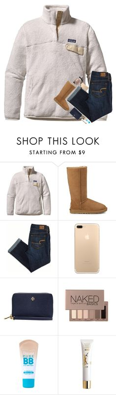 """Going to look at Christmas Lights with the family"" by kat-attack ❤ liked on Polyvore featuring Patagonia, UGG, American Eagle Outfitters, Tory Burch, Urban Decay, Maybelline, Yves Saint Laurent, Bobbi Brown Cosmetics and hopeschristmascontest2016"