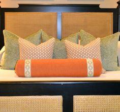 Custom bedding designed by Lucy Williams using Samuel and Sons Epingle Velvet  Border.