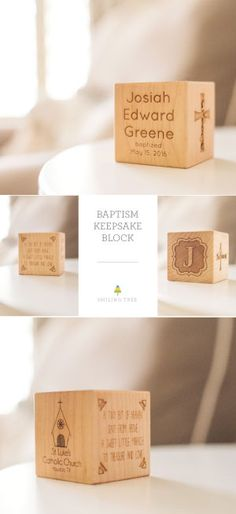 Keepsake Baptism Block | A stunning heirloom baptism gift for little girls and boys - personalize this six-sided, solid hardwood block for a truly unique keepsake. Gorgeous handcrafted maple wood, original designs, and our all natural homegrown finish make this a timeless and lasting christening gift they'll always treasure!
