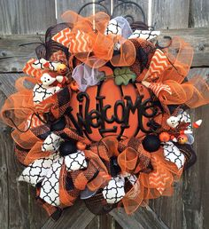 Halloween Wreath, Fall Wreath, Fall Door Hanging, Welcome Wreath, Deco Mesh Wreath, A Gorgeous Fall Welcome on Etsy, $89.00