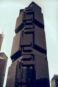 Architecture Tetris. Black Skyscraper. Design. Abstract. Futuristic.