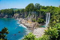 The Jeongbang Waterfall and the stunning coastline of Jeju