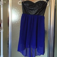 BEAUTIFUL STRAPLESS LIKE NEW WORN ONCE DRESS ELASTIC STRAPLESS DRESS BLACK FAUX LEATHER WITH SHEER BLUE BOTTOM .GREAT FOR GRADUATION ,HOMECOMING,PARTIES ETC City Triangles Dresses Strapless