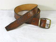 Vintage Embossed Leather Belt   by LavenderGardenCottag