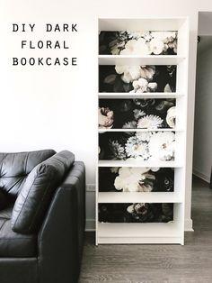 DIY Dark Floral Wallpaper Bookcase - Ellie Cashman Design Wallpaper and IKEA Billy Bookcase