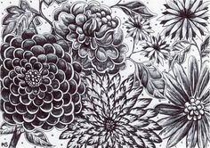 Moonlight Garden  Black and White Flowers HAND by Michelebuttons, $30.00