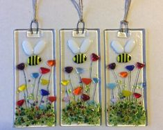 Handmade Fused Glass Bumble Bee And Flowers spring Garden Sun Catcher. These unique handmade fused glass sun catchers have been handmade by myself in my small studio and fused to around 700 degrees in my kiln. Spring Lambs, Glass Fusing Projects, Fused Glass Art, Stained Glass, Dichroic Glass, Bee On Flower, Meadow Flowers, Flowers Garden, Bee Gifts