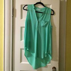 Mint green tunic tank blouse Pretty, flowy, mint green tunic tank top blouse. Longer in back than front. Lush Tops Tank Tops