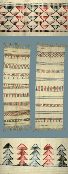 Africa | Two textiles from the Hausa people of Soba, Kaduna State, Nigeria | Cotton woven cloth, white, with embroidered pattern in horizontal bands. Woven by women on broad loom. Worn by girls on special occasions. Embroidered patterns are worked in without a needle during the weaving. Called 'GYELE'  | c. 1949/50