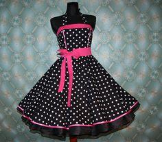 50's vintage dress full skirt black white by Lolablossomclothing, $99.00