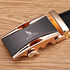 Men 100% Genuine Leather Automatic Buckle