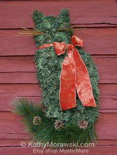 The ORIGINAL Cat Wreath Artificial Pine Christmas Holiday Home Door Decor Crazy Cat Lady Art by Professional Equine Artist Kathy Morawski