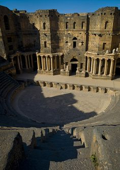 The well preserved roman amphitheatre ( 2nd century A.C ) in Bosra, Syria  -UNESCO World Heritage Site