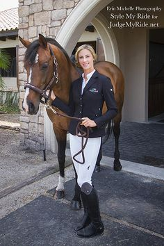 Style My Ride was honored to have the beautiful Caroline Roffman, a Nations Cup Dressage rider for the US Team, model for us during our WEF shoot. Caroline is proudly sponsored by Equiline. Here she models two complete Equiline looks, with her choice of our Style My Ride Vincerò boots. This classic navy coat, has crystal embellished buttons, and dark navy crystals on the lapel and waist band. Her white breeches are the Equiline Full seat breech. stylemyride.net @SMRequestrian