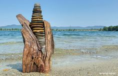 Driftwood and stone art in Hungary by tamas kanya by You are in the right place about Stone sculpture Here we offer you the most beautiful pictures about the Stone veneer you are looking f Rock Sculpture, Driftwood Sculpture, Driftwood Art, Stone Sculptures, Garden Sculptures, Wood Stone, Stone Art, Stone Veneer, Grey Stone