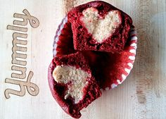 Red Velvet Cupcakes with a Heart Inside! http://www.yummly.com/blog/2013/02/red-velvet-cupcakes-with-a-heart-inside/