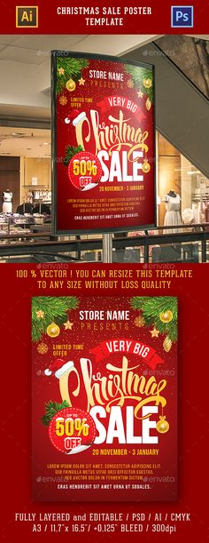 Christmas Sale Poster Template PSD, AI Illustrator #advert #specialoffer #flyer
