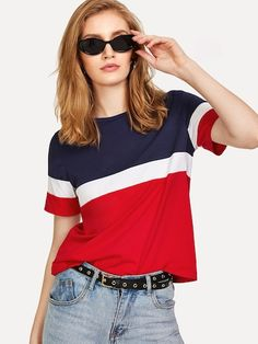 SweatyRocks Color Block Tee 2018 Summer New Arrival Round Neck Short Sleeve T-shirt Women Multicolor Athleisure Casual Top - multi,xs Latest Mens Fashion, Fashion News, Fashion Fashion, Fashion Women, Vintage Fashion, Casual Tops, Casual Wear, Latest T Shirt, Tee Online