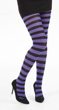 Striped Tights - Black/Purple