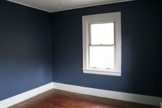 "Wall paint is Benjamin Moore Aura ""Kensington Blue"" (Matte finish), ceiling and trim is Ben Decorator's White."
