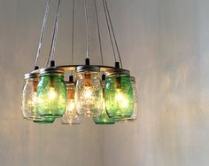 Mason Jar Chandelier Lighting Fixture Large Rustic Pendant Lamp 10 Jars Bootsngus And Home Decor Bulbs Included