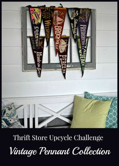 Thrift Store Upcycle Challenge - Vintage Pennants Display Th. - Thrift Store Upcycle Challenge – Vintage Pennants Display Thrift Store Upcycle – Vintage Pennants Thrift Store Upcycle Challenge – Vintage Pennants Display Thrift Source by - Thrift Store Art, Thrift Store Outfits, Online Thrift Store, Thrift Store Finds, Challenge, Pennant Banners, Creative Pictures, Dollar Store Crafts, Upcycled Vintage