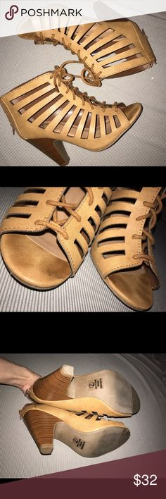 Laser Cutout Tie Up Sandals Heels Cognac Tan Brown Lace Up Sandals Size 7 Purchased at Charlotte Russe I think, maybe Wet seal or forever 21, I still have the box and it says my delicious shoes so I guess that's the brand. I wore these one time but have too many similar shoes Shoes Sandals