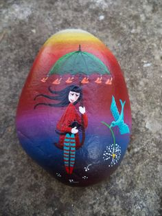 Hand Painted stone about my tales Girl with by TheCreativeShelter