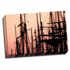 Picture It on Canvas 'Tall Ships at Sunset 2' 16-inch x 24-inch Wrapped Canvas Art