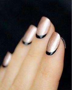 Reverse French Manicure - stylish black & copper pearl; alternative manicure